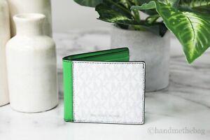 Michael Kors Cooper Men's Slim White/Palm Green Mini MK Logo PVC Billfold Wallet