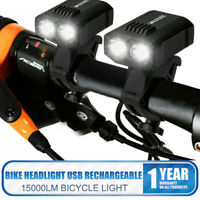 2X 15000LM T6 LED Rechargeable MTB Bicycle Light Bike Rear Front Headlight USB
