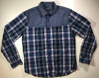 Express Plaid Denim Snap Front Long Sleeve Shirt Blue Mens Large