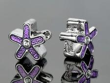 Lavender Flower Spacer Beads Silver With Rhinestones Fit European Charm Bracelet