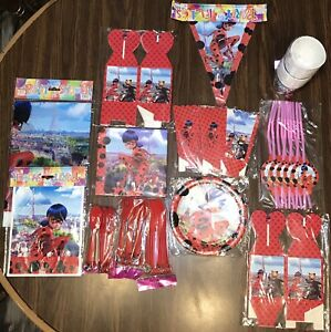 NEW SEALED Lot Miraculous Ladybug BIRTHDAY PARTY Supplies for 10 Kids!!!!