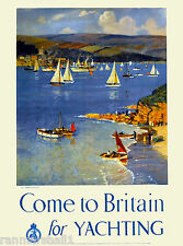 Come to Britain for Yachting England Vintage Travel Advertisement Art Poster