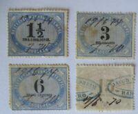 Norddeutscher Bund 4 Wechsel Stempelmarken ca. 1870 (37369)