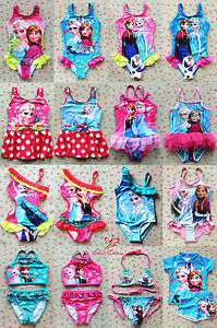 UK SELLER Elsa Anna Frozen Girls Swimwear Swimming Costume Suit Beach 2-12Y