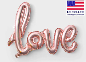 Air Fill Rose Gold Love Script Balloon for Wedding, Party, Room Decor Large Size