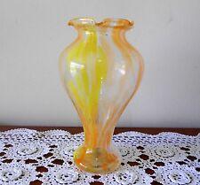 VINTAGE ART GLASS VASE YELLOW ORANGE WHITE SWIRLS HAND BLOWN FLARED TOP
