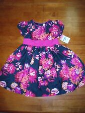 Girl's Dress - Vibrant Pink Floral Print on a Black Canvas  Size 5   NWT's!