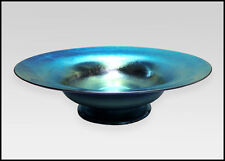 Louis Comfort Tiffany Blue Favrile Blown Glass Bowl Hand Signed Antique Compote
