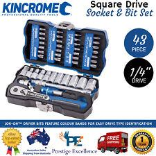 KINCROME Hand Tools Lok-on 1/4in 43pce Metric Socket & Bit Set Case K27000