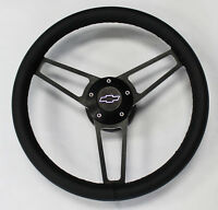 14 3/4 Black Leather on Black Billet Steering Wheel Caprice Nova Impala Camaro