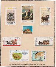 (V9-20) 1974 Poland mix of 8stamps horses on stamp card (T)