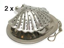 Stainless steel shell shaped tea infuser with tray, ** SET OF 2 PIECES **