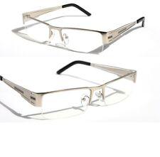 Rectangular Half Rimless Metal Sun-Glasses Eye-wear Optical Rx Silver Clear lens