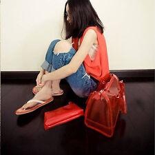 Frauen Casual transparente Tasche PVC 2in1 Jelly Handtasche Schultertasche Tote