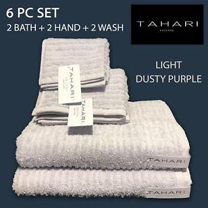 6 PC SET New TAHARI Cotton Wash Hand Bath Towels Quick Dry Light Dusty Purple