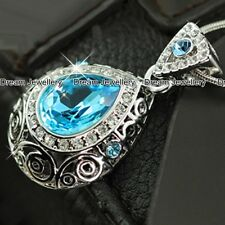 Aquamarine Crystal Pendant Necklace Jewellery Christmas Gifts for Girlfriend Mum