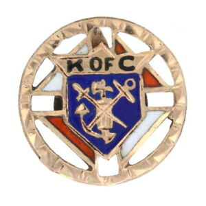 Yellow Gold Knights of Columbus Vintage Lapel Pin - 10k Enamel K of C Fraternal