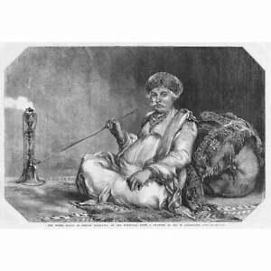 INDIA The Hindu Rajah of Ooncar Mandatta on the Nerbudda - Antique Print 1857