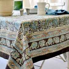 Brown Blue Green Floral Malini Couleur Nature Linens Tablecloths Aprons Towels &