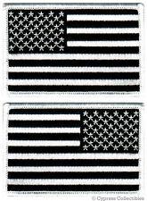 LOT 2 US AMERICAN FLAG MILITARY UNIFORM BLACK PATCH iron-on ALL BLACK VERSION