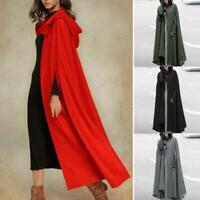 Women Hoodie Winter Warm Hooded Long Cape Cloak Jacket Poncho Coat Outwear Tops