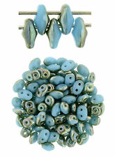 10g Blue Turquoise Celsian SuperDuo 2 Hole Czech Glass Seed Beads 2x5mm