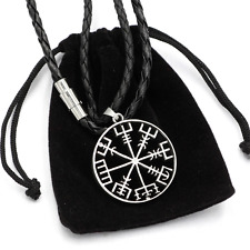 Viking Vegvisir Compass Pendant Norse Nordic Pirate Pendant Necklace Genuine Lea