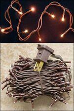 Light Set String Strand - Clear Teeny Rice Bulbs - 20 CT - Brown Cord