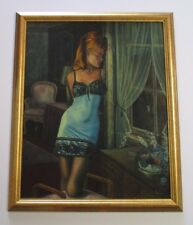 HOLSCHER SEXY 1970'S PAINTING RISQUE WOMAN IN LINGERIE WINDOW CITY VIEW STREET