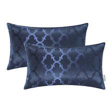2pcs Navy Blue Cushion Covers Pillow Case Shell Quatrefoil Geometric Car 30x50cm