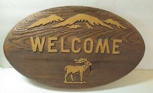 """Rustic 3D ELK Wood Craft Welcome sign Art Carving Wall Hanging Décor 15"""" x 9.5"""""""