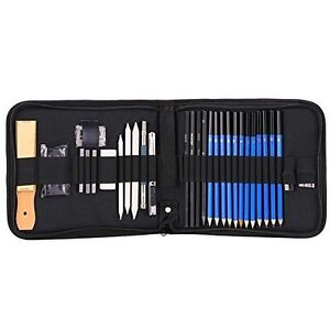 33Pcs Sketching and Drawing Pencils Set Graphite Charcoal Sticks Case Set