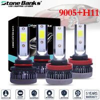 4PCS Combo 9005+H11 White 6000K COB LED Headlight Bulbs 240W High Low Beam Kit