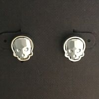 Crystal Skull Earrings Silvertone Chrome Small