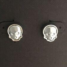 Crystal Skull Earrings Silvertone Chrome Small