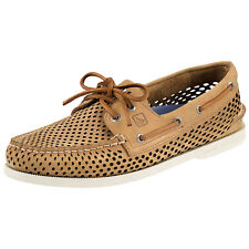 SPERRY A/O TWO-EYE LASER BOAT SHOW- PERFORATED BROWN; NAVY