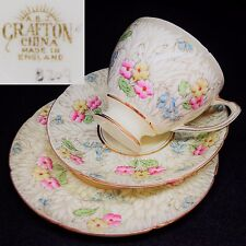 ABJ Grafton 1935+ 8209 Beige Leaves Flowers English Vintage Bone China Trio Set