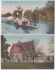 Postcard pair 1913 Church of England and river barge Echuca Victoria Australia
