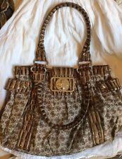 Guess Beige Tan Signature Print Croc Embossed Handbag Purse Great Condition!