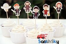 24pcs Harry Potter Cupcake Toppers Candy Bar Baby Shower Kids Birthday Party