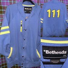 Bethesda 2XL Fallout 4 Vault 111 Track Jacket Varsity Striped Blue Yellow XXL