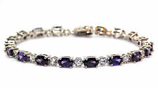 Sterling Silver Amethyst And Diamond 7.86ct Tennis Bracelet (925)