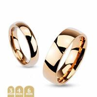 Herren Damen Ring Ehering Partnerring Rosegold Dome Bandring Freundschafsring
