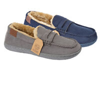 Mens Fleece Lined Moccasin Warm Winter Slip On Slippers Shoe Size 7 8 9 10 11 12