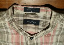 NAUTICA Ivory Pink Black Plaid LINEN Banded Collarless Grandad Shirt Men L