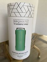 NIB Brumate Hopsulator Slim Insulated Can Cooler in Glitter Peacock Color