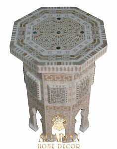 """Modern Morocco Side Table 23"""" Height Mother of Pearl Inlay Wood Coffee End Table"""
