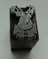 Printing Letterpress Printers Block B P O E Deer Head Buck  All Metal