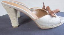 "Women's SALVATORE FERRAGAMO Taupe Canvas Espadrille 3.5"" Heel Italy Size 8.5 US"