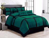7 Piece Patchwork Green Black Micro Suede Comforter Set Queen Size